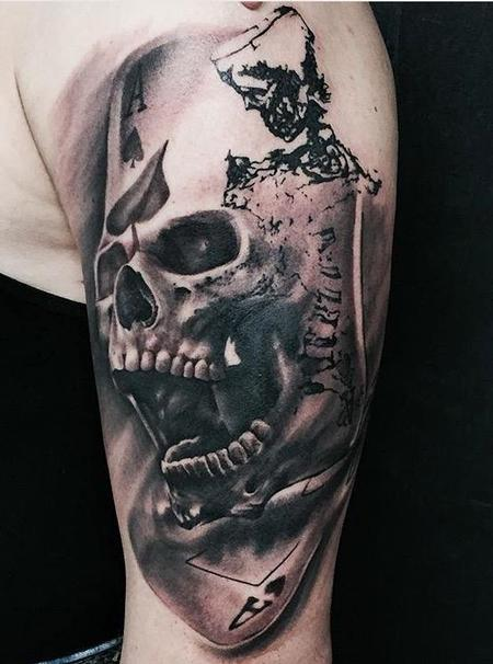 Tattoos - Skull, Skeleton, and Cards Tattoo - 116648