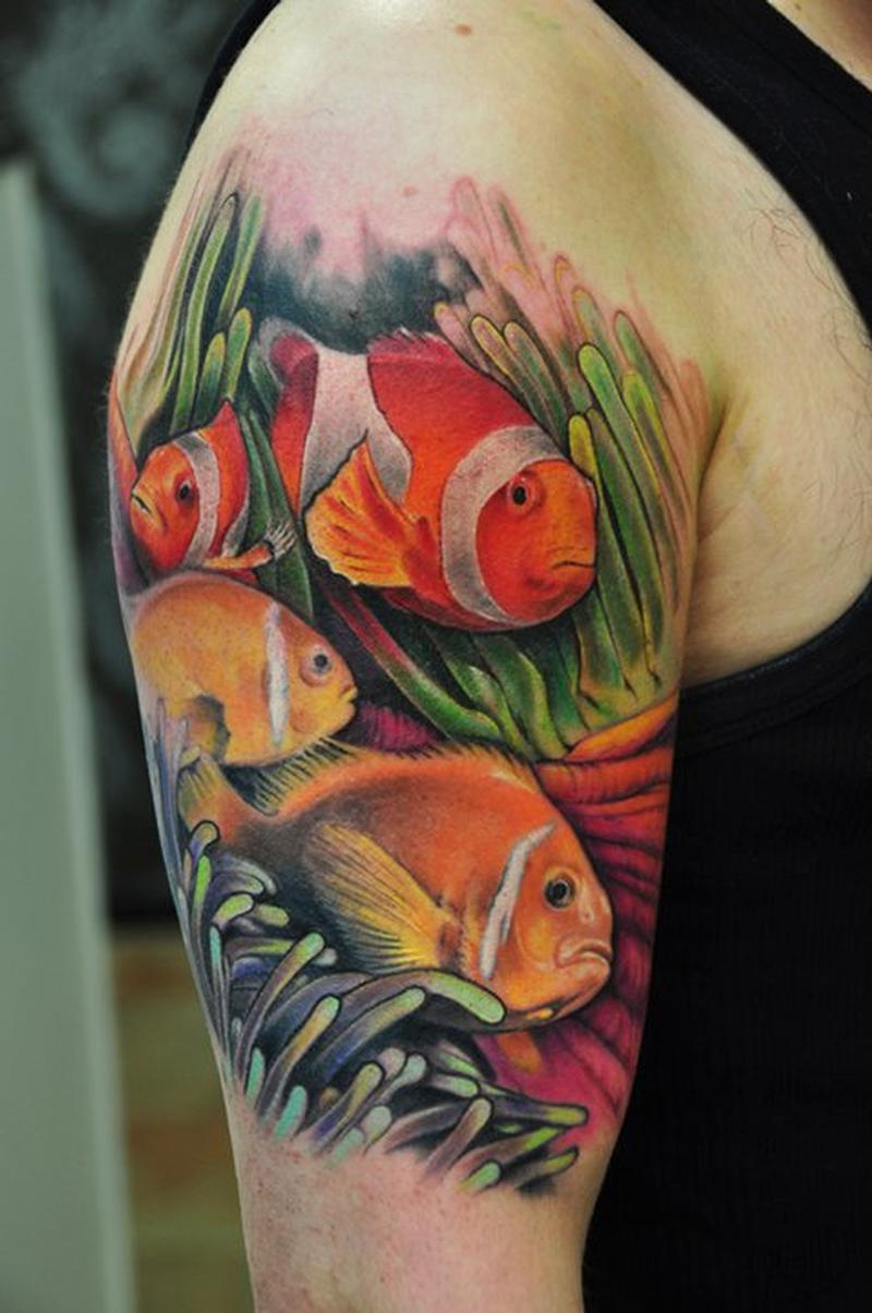 fish and coral tattoo by Bez: TattooNOW :