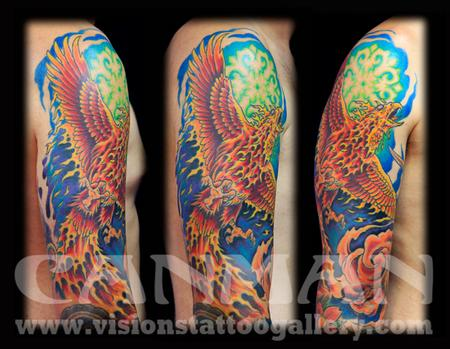 c04fbbc80 ABSTRACT REALISTIC PHOENIX BACK TATTOO by Maximilian Rothert ...