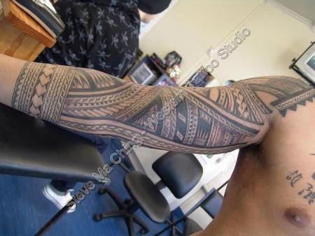 Black work sleeve tattoo by steve ma ching tattoonow for Best tattoo artists in massachusetts