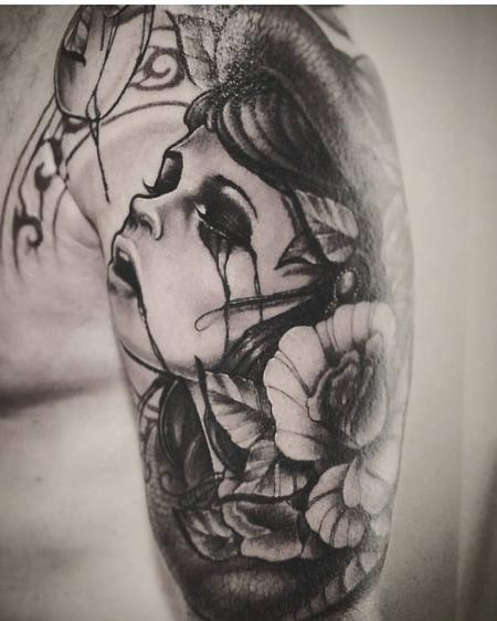 Tattoos - Black and Grey woman, Eve, Crying, Apple, Roses, Sleeve, Snake, Art Nouveau, Yorick Tattoo, Neotrad - 130588