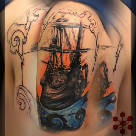 Tattoos - Cover Up Pirate Ship, color, neo traditional boat, art nouveau filigree  - 130847