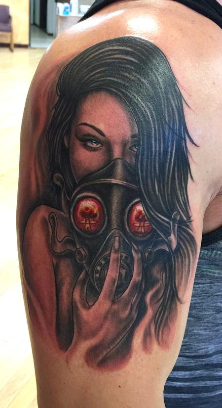 2662815bf58f7 Altered Images : Tattoos : Body Part Arm : Gas Mask Girl