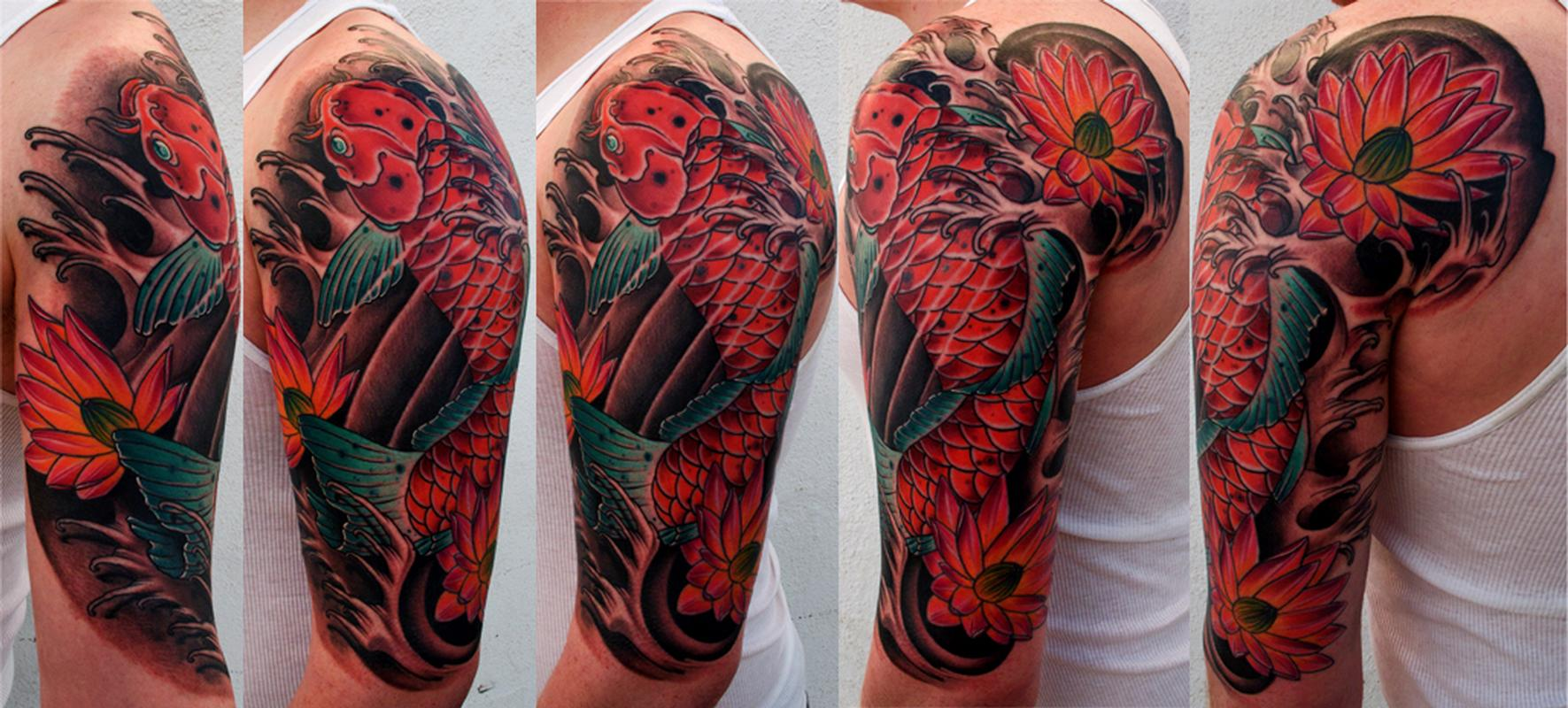 Koi Fish Half Sleeve Color Brent Olson Art Junkies Tattoo by Brent ...