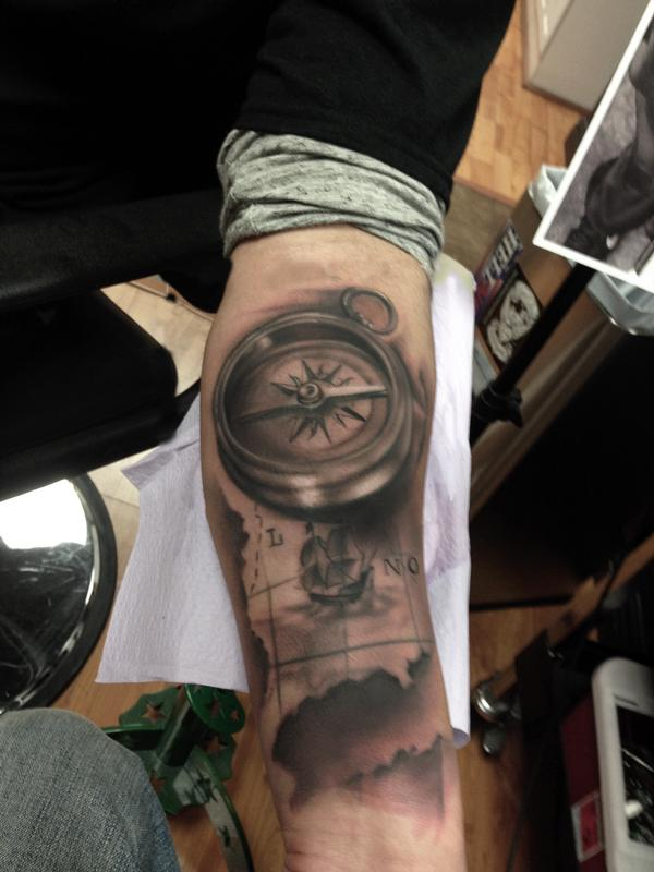 Ryan Mullins   Black And Grey Map And Compass