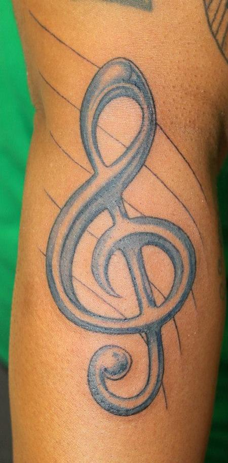 Talo Treble Clef Blue Tattoo By Rob Talo Tattoonow