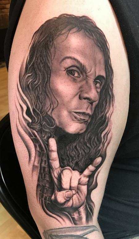 Ronnie James Dio Portrait Tattoo Design Thumbnail