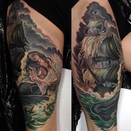 Tattoos - Mermaid and pirate ship - 85607