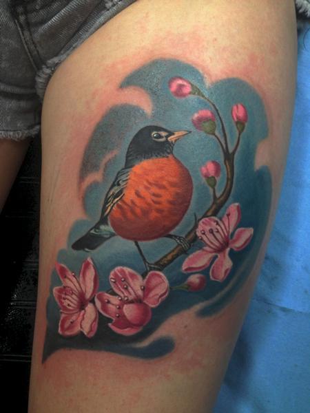 Tattoos - Robin on a cherry tree branch - 85799