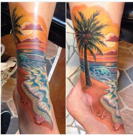 Tattoos - Free Hand Beach Scene Cover-Up  - 94328