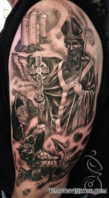 Tattoos - St. Patrick casting demons into hell - 67034