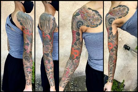 Japanese dragon Sleeve and chest panel tattoo Design Thumbnail