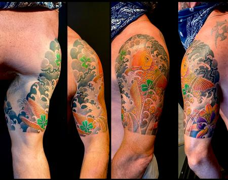 Koi and lotus half sleeve tattoo Design Thumbnail