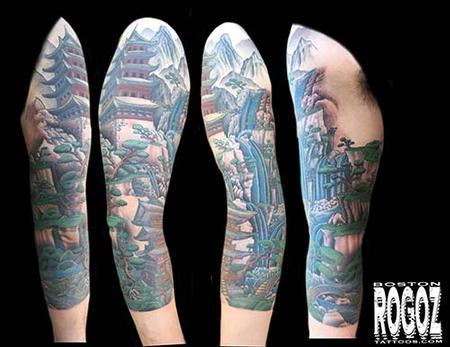 Tattoos - Japanese Landscape sleeve - 130624
