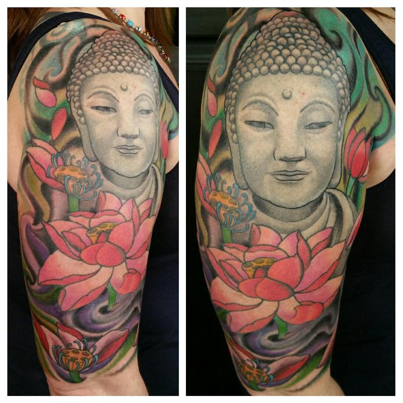 f3b6d0b884c18 Glenn Collins - custom color Buddha and lotus tattoo done by Glenn Collins  @ Broken lantern