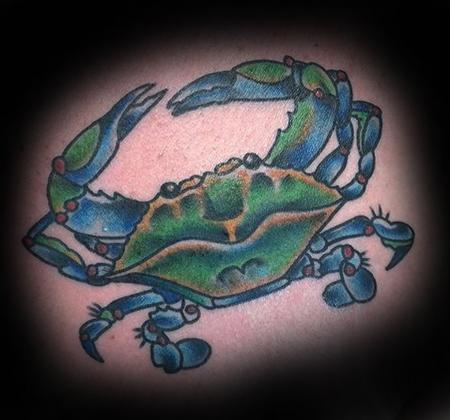 Chris Jones - Blue Crab Tattoo on Chest