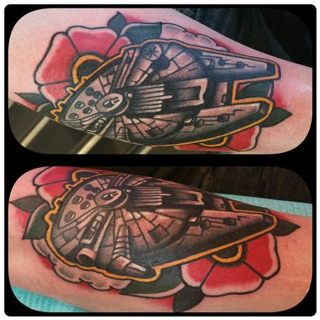 Nick Rose - Millennium Falcon space tattoo and flower