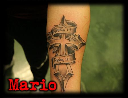 Tattoos - Cross_ribbion_script_tattoobyMario - 132662