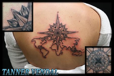 Tattoos - Black & Grey World Map & Star - 130851