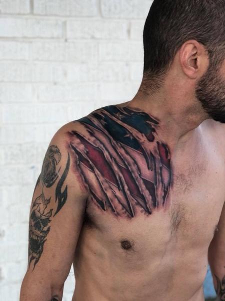 Tattoos - Tear away American flag - 135037