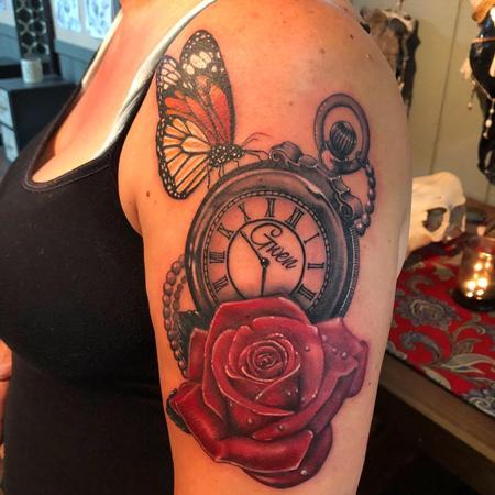 Tattoos - Clock, Rose & Butterfly - 135038