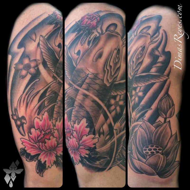 Japanese koi fish and flowers tattoo by dimas reyes tattoonow dimas reyes japanese koi fish and flowers tattoo mightylinksfo