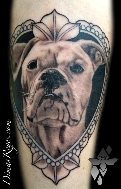 frame tattoo designs. Dimas Reyes - Black And Grey Dog Portrait Frame Tattoo Designs