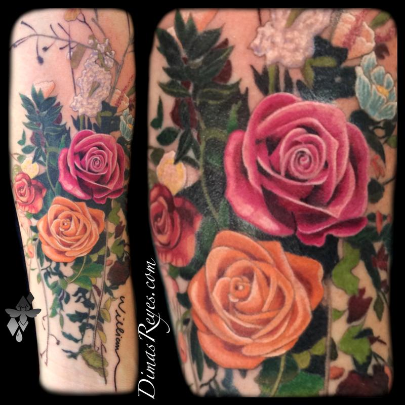 Realistic Color Flower Bouquet Tattoo by Dimas Reyes: TattooNOW :
