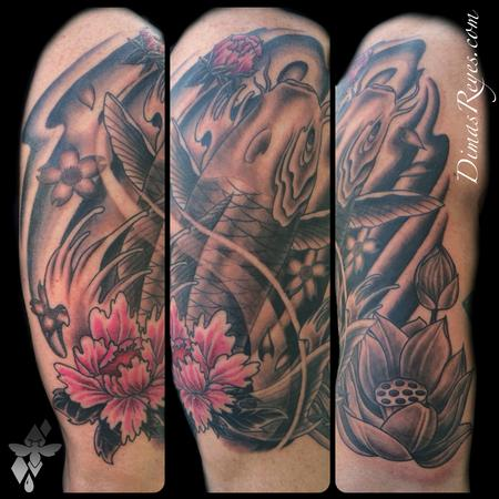 604276cd2e5f9 Tattoos - Japanese Koi Fish and Flowers tattoo - 98964