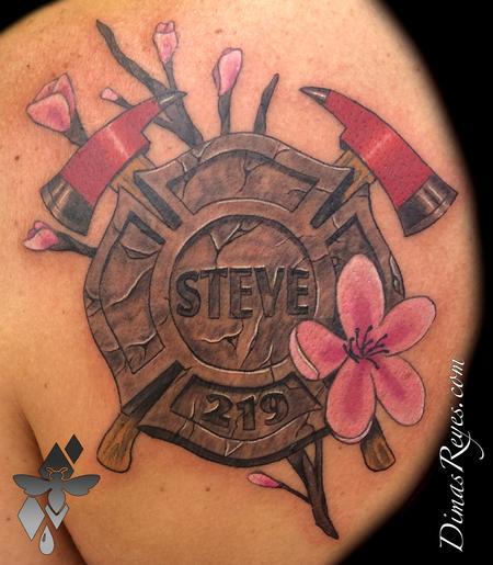 Tattoos - Cherry Blossom Maltese Cross Tattoo - 117840