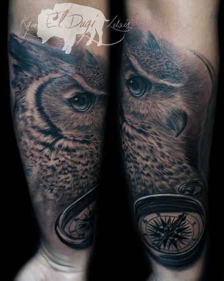 Ryan El Dugi Lewis - Great horned owl and compass