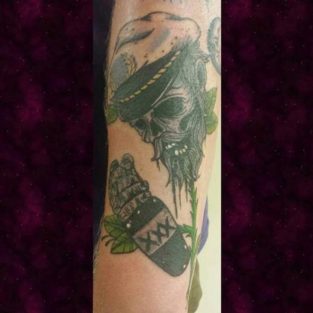 Tattoos - Dead Sailor Skull Flower Tattoo - 129406