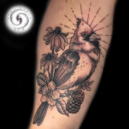 Tattoos - Cardinal & Flowers  - 133384