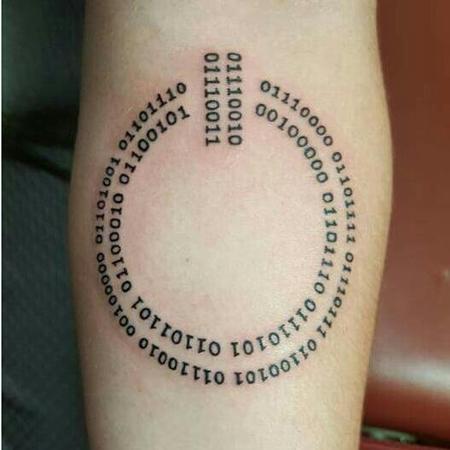 Tattoos - Power By Numbers Binary Tattoo  - 127017