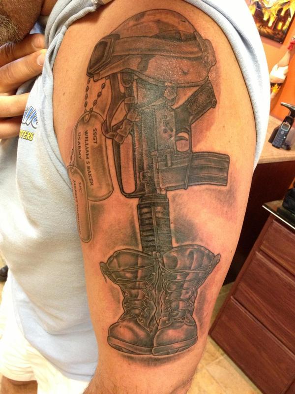 b30aaca1f58a3 Soldier's cross by Tim MacNamara: TattooNOW :
