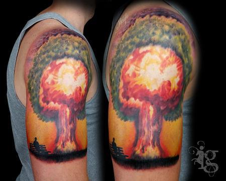 A-Bomb half sleeve tattoo by Haylo Design Thumbnail