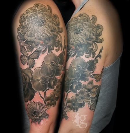 Floral black and gray half sleeve tattoo by Haylo Design Thumbnail