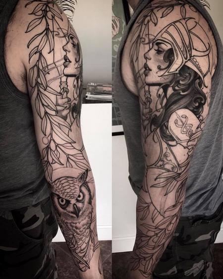 Tattoos - Athena and owl sleeve in progress - 127670