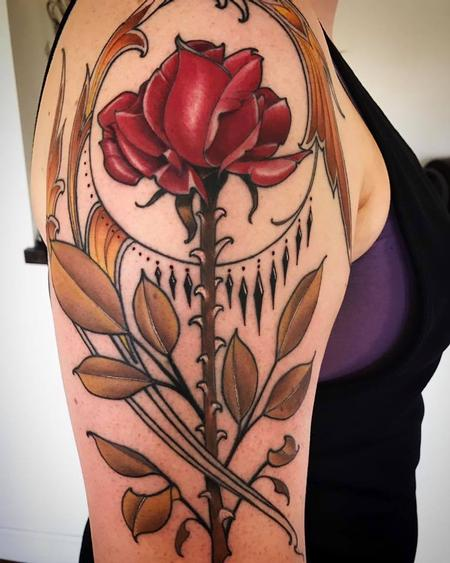 Tattoos - beauty and the beast inspired rose - 126871