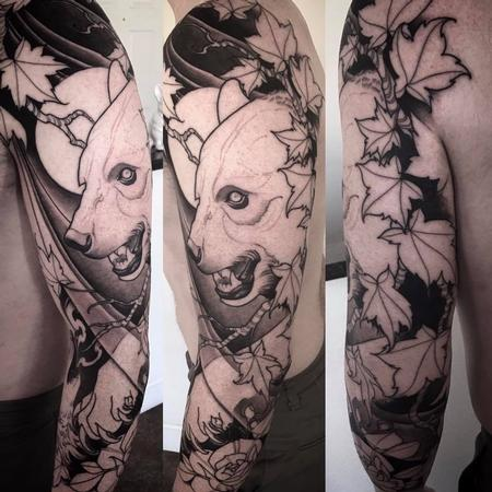 Tattoos - bear and oak leaf sleeve in progress - 126878
