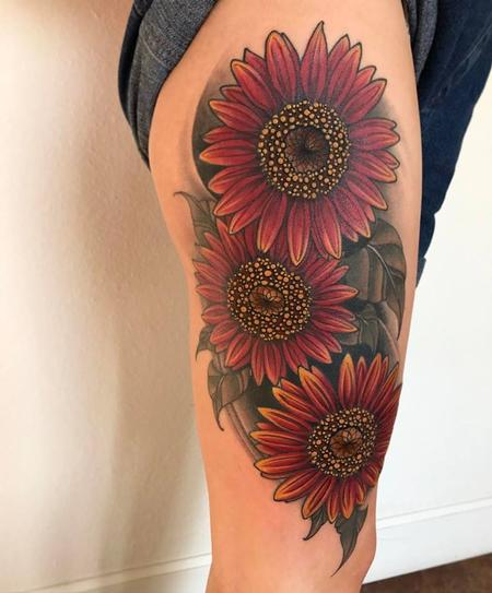 Tattoos - sunflower on thigh - 129144