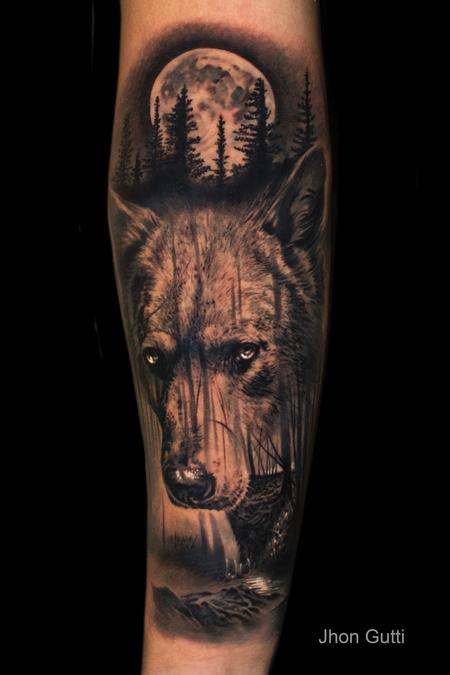 Tattoos - WOLF/MOON/FOREST - 130612