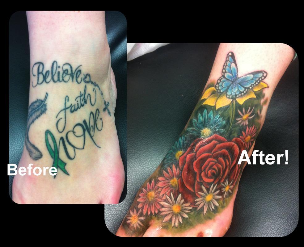 Feminine Flowers Coverup Foot Tattoo By Steve Malley Tattoonow