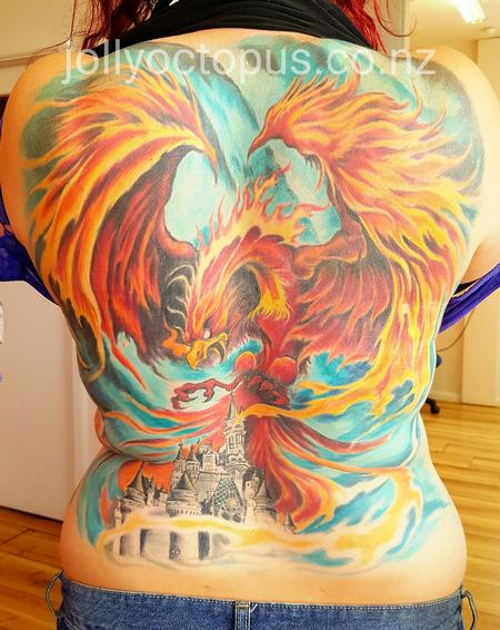 Tattoos - Blazing Fury: Phoenix Attacking Castle - 125770