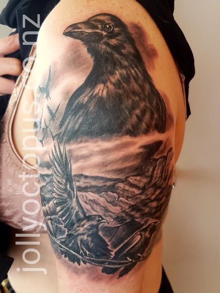 Tattoos - Black and Gray Crow Tattoo - 131828