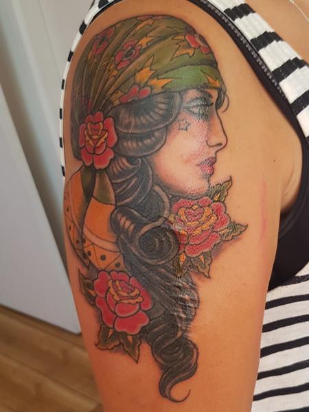 Tattoos - Gypsy Woman American Traditional Tattoo - 132468