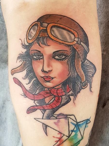 Tattoos - Aviatrix Traditional Old School Pinup Tattoo - 132526