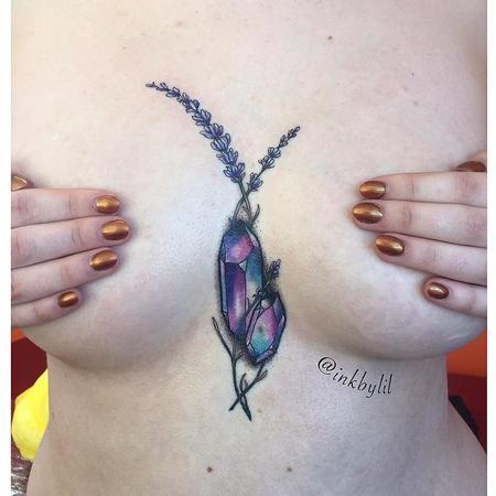 Tattoos - Gemstone Color Feminine Tattoo - 131445