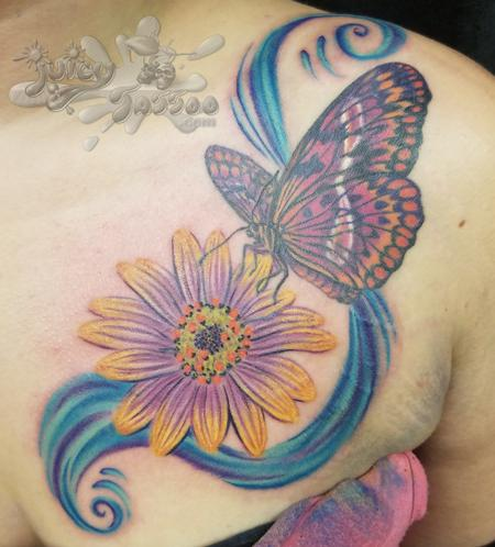 Tattoos - Butterfly and Daisy - 116202