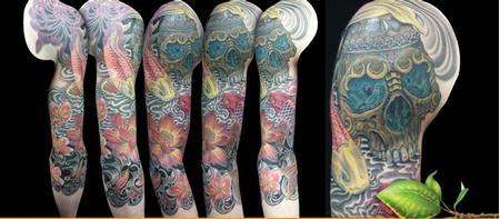 Tattoos - Colorful 3/4 Sleeve - 102296
